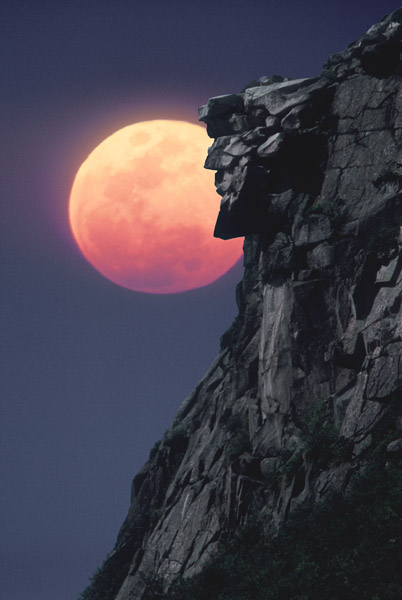 OLD MAN OF THE MOUNTAIN WITH MOON